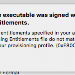 Xcodeで実機デバッグを行う際「The executable was signed with invalid entitlements.」というエラーが出る